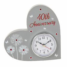 Heart Shaped Mantle Clock / Plaque - 40th Wedding Anniversary