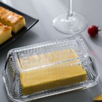 Clear Glass Butter Dishes with Covers - Classic 2-Piece Design Butter Keeper