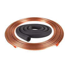 "3/8"" x 10m Soft Copper Coil Pancake Copper Pipe Air Con Hvac w/ Tube Insulation"