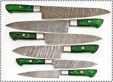 6 Pc's Beautiful Custom hand made Damascus steel Chef knife Set. (ZE-1071-G)