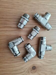 8mm Metal 90° Elbow Push fit Air Pipe Connectors x 2 - Made in UK - FREE UK P&P