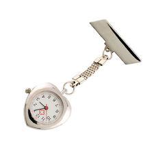 Hanging Pocket Fobwatch Heart Shape Clip Pin Nurse Doctor Quartz Watch Brooch