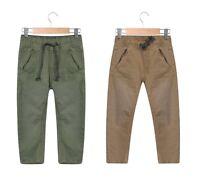 Boys Chino Trousers Kids Stone & Khaki Green Pull On  Elasticated Waistband
