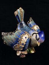 Blue Jay Bird Jeweled trinket box with Swarovski Crystals by Rucinni