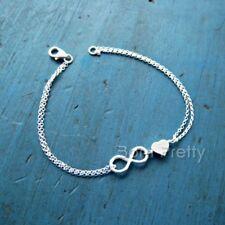 Silver Infinity Design Bracelet Love Heart Chain Bracelet Bangle Jewelry Decor