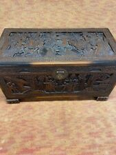 Vintage Hand Carved Chinese Camphor Blanket Chest