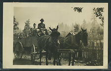 OR Kerby RPPC 1910's WAGON DRIVER & TEAM of HORSES Group Out for a Ride