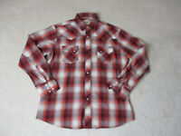 Wrangler Pearl Snap Shirt Size Adult Large Red White Rodeo Cowboy Western A124