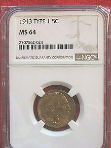 1913 Type 1 Buffalo Nickel - NGC MS 64 - Beautiful Detail