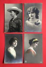 4 x Foto AK 1916/18 Typen Frauen Porträt Mode Frisur Hut  ( 45113