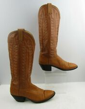 Ladies Hondo Orange Exotic Skin Round Toe Western Cowgirl Boots Size : 9.5 B