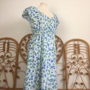 "Seasalt ""Mermaid Dress"" 100% Cotton Midi Printed Green Blue Dress Size 14"