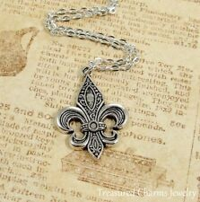 Silver Fleur De Lys Charm Necklace - French Lily Flower Symbol Pendant Jewelry