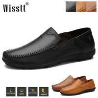 Men's Leather Casual Work Shoes Breathable Antiskid Driving Loafers Moccasins US