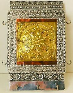 Vintage Ornate Silver & Gold Metal Clad Wooden Wall Hanging Letter/Key Holder