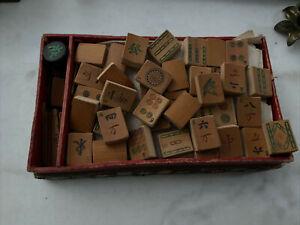 Ancien Jeu Chinois Mahjong Piece Bois Jeu Vintage