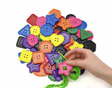 GIANT PLASTIC CRAFT BUTTONS (40-50mm) - 60pcs IN ASSORTED COLOURS & SHAPES