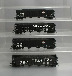 ExactRail HO Scale Assorted Denver & Rio Grande Western 4-Bay Hoppers [4] EX