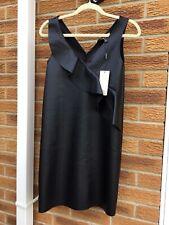 LIPSY 10 BNWTBlack Sleeveless Frill PU Faux Leather V Neck Club Party Mini Dress
