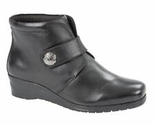 Ladies Womens Ankle Boots Soft Leather Touch Fastening Wedge Shoes Size