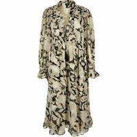 New Womens Ex River Island Beige&Black Floral Print Chiffon Midi Dress Size 6-10