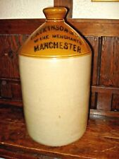 ANTIQUE POTTERY JUG- F. ATKINSON & CO-WINE MERCHANTS-MANCHESTER ENGLAND