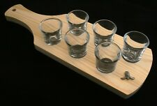 Fencing Mask Set of 6 Shot Glasses with Wooden Paddle Tray Holder 125