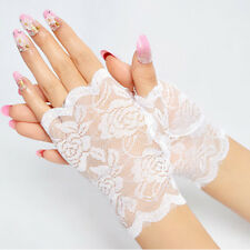 Sexy Lady Women Short Lace Gloves Wrist Fingerless Bridal Wedding Costume Party
