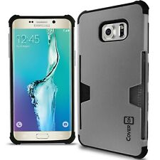 For Samsung Galaxy S6 Edge+ Plus Case - Silver / Black Slim Card Holder Cover