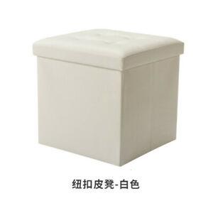 Large Capacity 55L Faux Leather Folding Storage Ottoman Foot Stool Storage Box