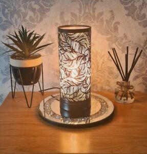 Aroma Lamp Wax Melt Burner Matte Black Leaf Design Touch Sensitive
