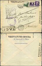 ITALY 1941 CENSORED to SWITZERLAND...SERVICE DES PUBLICATIONE BOXED