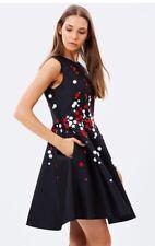 Karen Millen Black Satin Fit And Flare Beaded Floral Cocktail Dress UK6 US 0/2