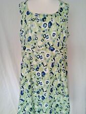 Adini 100% cotton dobby dress sleeveless side zip lined back neck button L