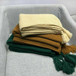 Soft Wool Sofa Bed Knitting Throws Chair Tapestry Bedspread Single Double Size
