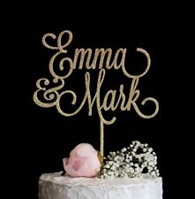 Custom Wedding Cake Topper Personalized w/ First Names Rose Gold Silver Glitter