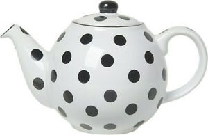 London Pottery Globe 2 Cup Traditional Teapot Gloss White With Black Spots