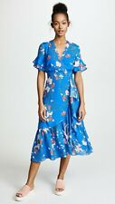 NWT Tanya taylor blue silk floral Blaire dress faux wrap style size 4 $315