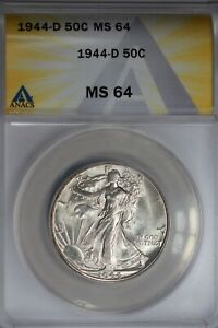 1944-D  .50   ANACS  MS 64  Walking Liberty, Half Dollar, Lady Liberty Half