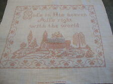 Stamped Cross Stitch Fabric:  God's in His Heaven Church Scene 18 x 16