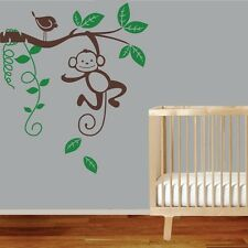 Large Monkey Tree Branch Wall Decals Kids Nursery Baby Decor Personalised Name