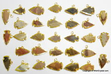 NATURAL ARROW HEAD AGATE GOLD PLATED PENDANTS LOT OF 12 PIECES