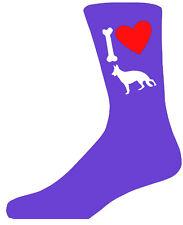 Violet Mesdames Nouveauté berger allemand Chaussettes-j' aime mon chien chaussettes