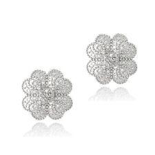 925 Silver 1/10ct Diamond Clover Stud Earrings