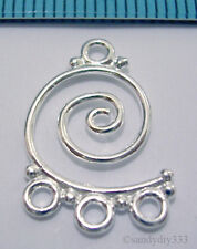 2x STERLING SILVER BRIGHT CHANDELIER CONNECTOR EARRING #558