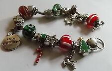 Christmas Add Bead Silver tone Bracelet Art Glass Red Green Rhinestones 8c 3