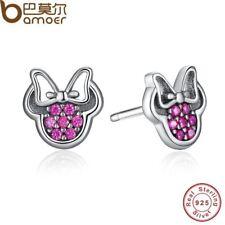 BAMOER 925 Sterling Silver Ladies / Women's Earrings - Minnie Mouse / Disney The