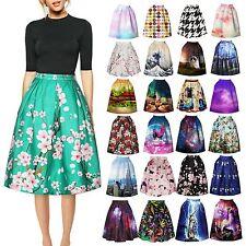Women Retro Floral High Waist Dress Skater Flared Pleated Swing Long Skirt Dress