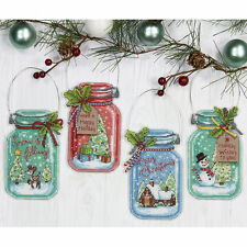 """Counted Cross Stitch Kit CHRISTMAS JAR ORNAMENTS Mason Approx 7.5"""" Dimensions"""