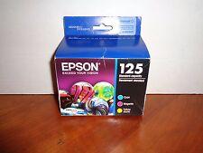 Genuine Epson 125 Color Combo Set CYAN YELLOW MAGENTA Ink Cartridges 02/2017